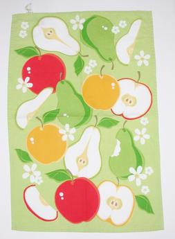 DII 100% Cotton Kitchen Dish Towel ~ Apples ~ Green Red Yell