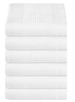 GLAMBURG 100% Cotton Kitchen Towel 6-Pack 18x28 Waffle Weave