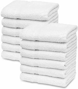 GOLD TEXTILES 12 New White 22X44 100% Cotton Economy Hotel /