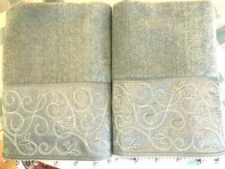 Avanti Linens 2-PC Bath Towel Set Dusty Aqua Embroidered Sat