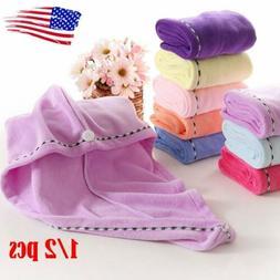 1/2x Rapid Fast Drying Hair Absorbent Towel Turban Wrap Soft