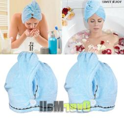 2x Microfiber Towel Quick Dry Hair Magic Drying Turban Wrap