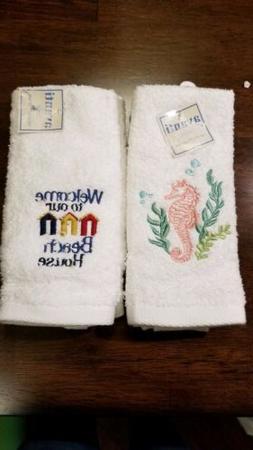 4 Avanti Linens 100% Cotton Beach Fingertip Towel - Seahorse