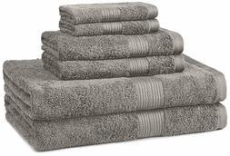 6-Piece Fade-Resistant Bath Towel Set - Grey