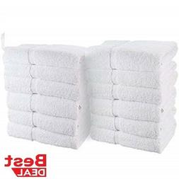 12 new white 100% cotton 10/s hotel hand towels 16x27 100% B