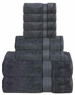 GLAMBURG 700 GSM Premium Cotton 8-Piece Towel Set - 100% Com