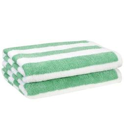 AmazonBasic Cabana Stripe Beach Towel Pack of 2 Sea foam  Bl