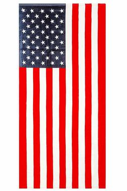 """American Flag """"Home of the Brave"""" Print Beach Towel 100% Cot"""