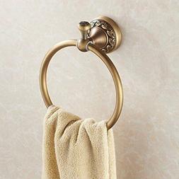 Antique Brass Bath Towel Ring Rack Towel Shelf Wall Mount La