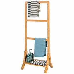 Bamboo Towel Rack Stand Hanger Free Standing with Bottom She