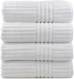 Bare Cotton Luxury Hotel and Spa Bath Towels, Striped, White