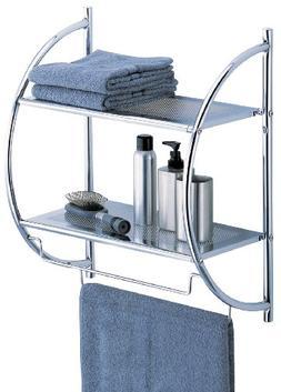 OIA Bathroom Two Shelf And Towel Bar Wall Mounting Organizer