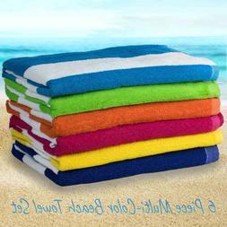 6 Pack Large Beach Towels Cabana Hotel Stripe Pool Towel Cot