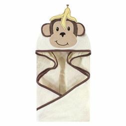 Hudson Baby Boy and Girl Animal Face Hooded Towel, Banana Mo
