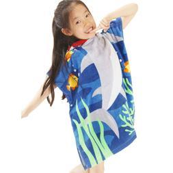 Boys Girls Cotton KidsShark Hooded Towel Poncho Swim Beach B