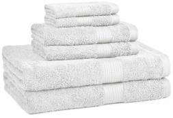 AmazonBasics 6-Piece Fade-Resistant Bath Towel Set - White 6