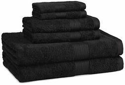 AmazonBasics Fade-Resistant Towel Set, 6-Piece, Black 6-Piec
