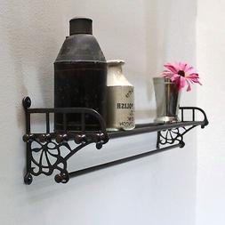 Bronze Train Rack Shelf and Towel Bar for Bathroom Antique V