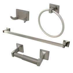Brushed Nickel 4 Piece Bathroom Hardware Accessories Set wit