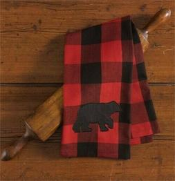 Buffalo Check Bear Applique Decorative Dishtowel, Park Desig