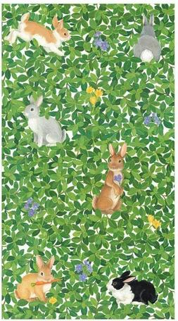 Caspari Bunnies and Boxwood Paper Guest Towel Napkins - Two