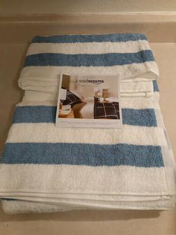 AmazonBasics Cabana Stripe Beach Towel - Pack of 2, Sky Blue