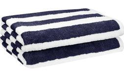 AmazonBasics Cabana Stripe Beach Towel - Pack of 2, Navy Blu