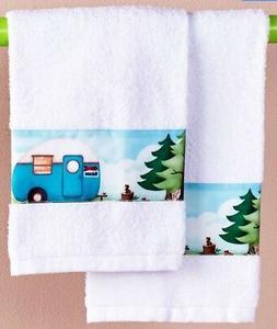 Camping Hand Towels Happy Camper Nostalgic Bath Decor Travel