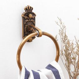 Carved Antique Brass Bathroom Round Towel Ring Holder Bathro