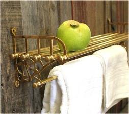 Cast Brass Train Rack and Towel Bar for Bathroom with Shelf