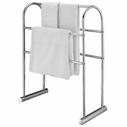 Chrome-Plated 5 Bar Towel Stand Organizer, 32-Inch Freestand