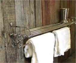 Chrome Train Rack Shelf and Towel Bar Antique Replica - The
