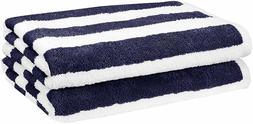 "AmazonBasics Cotton Beach Towel, 30"" x 60"" - Cabana Stripe,"