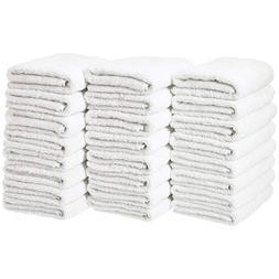 AmazonBasics Cotton Hand Towel - 24-Pack, White