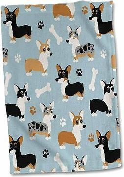 Cute Corgi Dog Pattern Blue - Towel, 15 by 22-inch