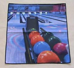 "Digital Print Bowling Microfiber Suede Towel 16"" x 16"" Gener"