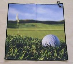 "Digital Print Microfiber Suede Golf Towel 16""x16""-Field- Gen"