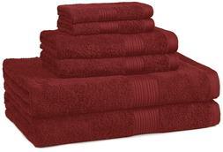 AmazonBasics Fade-Resistant Towel Set, 6-Piece, Crimson OPEN