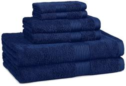 AmazonBasics Fade-Resistant Towel Set, 6-Piece, Navy OPENPAC