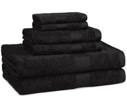 AmazonBasics Fade-Resistant Towel Set, Black 6-Piece Set - 1