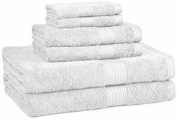 AmazonBasics Fade-Resistant Towel Set, 6-Piece, White
