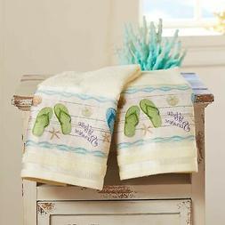 Flip-Flop Hand Towels - Tropical Island Bathroom Decor - Set