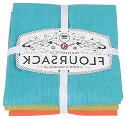 Now Designs Floursack Kitchen Towels, Set of Three, Bali Blu