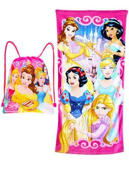 girls princesses beach towel and sling bag