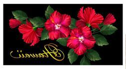 Hawaiian Beach Towel Red Hibiscus Green Leaves Hawaii Island