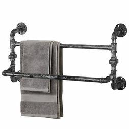 MyGift Industrial Double Metal Pipe Wall-Mounted Towel Bar R