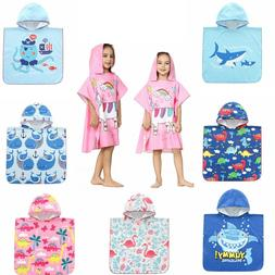 Kids Toddler Hooded Poncho Beach Bath Towel Microfiber Wetsu