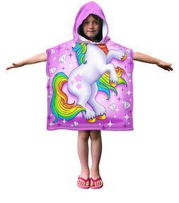 Dawhud Direct Kids Unicorn Cotton Hooded Poncho Bath Beach P