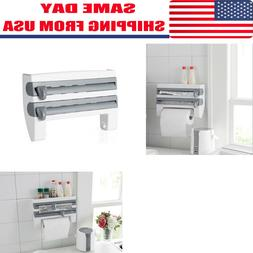 Wall Mount Kitchen Paper Towel Holder Cling Film Tinfoil Tri