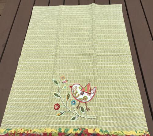 World Kitchen/Tea Embroidered Bird Floral New